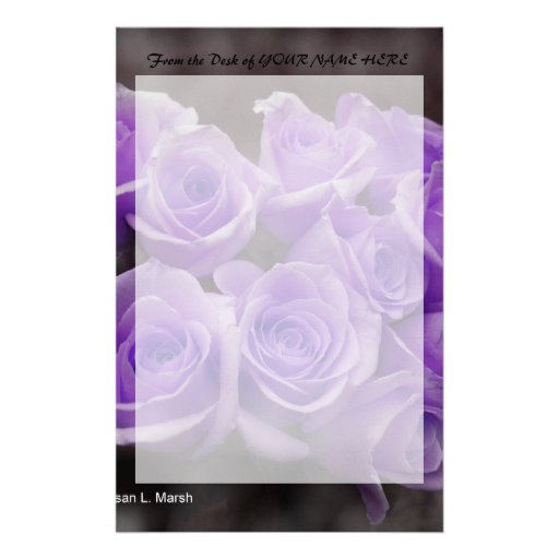 Purple colorized rose bunch customized stationery