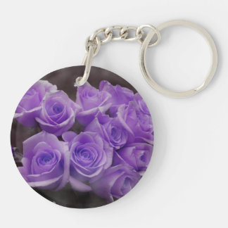 Purple colorized rose bunch round acrylic keychains