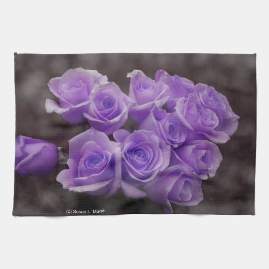 Purple colorized rose bunch kitchen towel