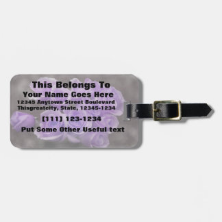 Purple colorized rose bunch luggage tag