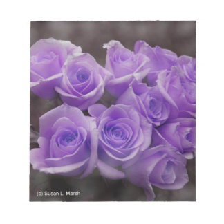 Purple colorized rose bunch memo notepad
