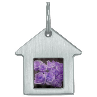 Purple colorized rose bunch pet name tag