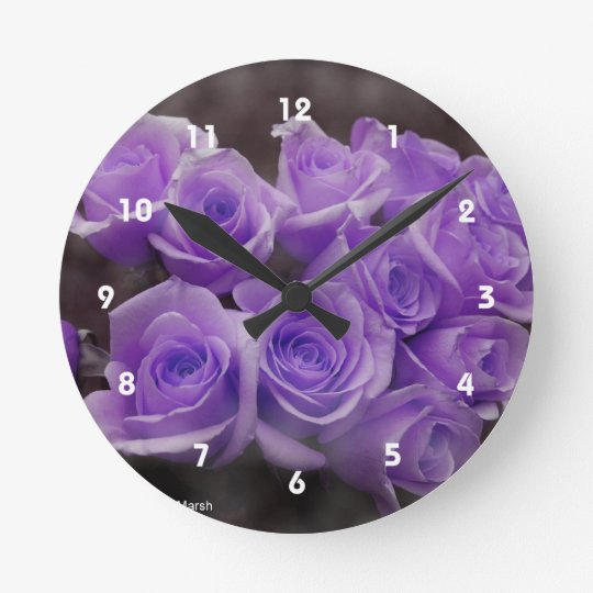Purple colorized rose bunch round clock