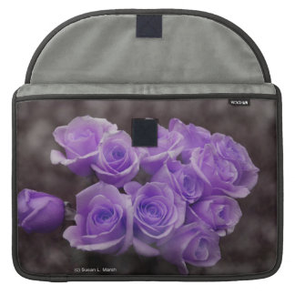 Purple colorized rose bunch sleeve for MacBook pro