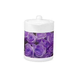 Purple colorized rose bunch teapot