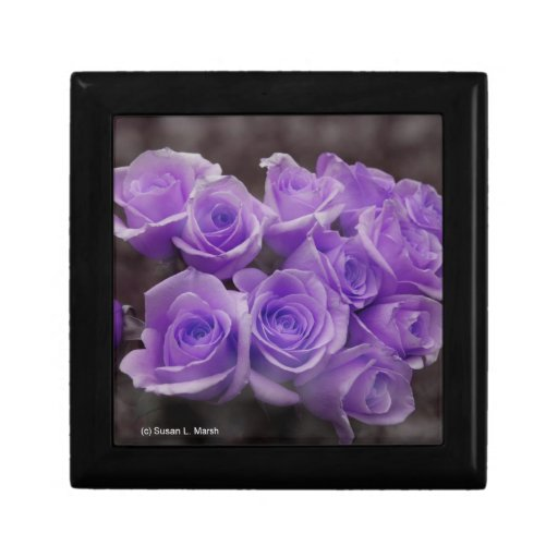 Purple colorized rose bunch trinket boxes