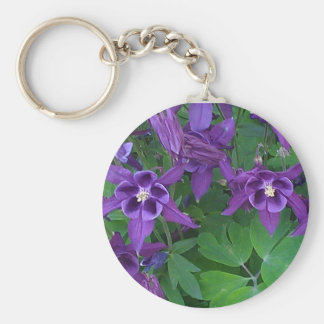 Purple Columbines - Button Keychain