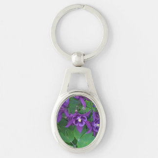 Purple Columbines - Oval Keychain
