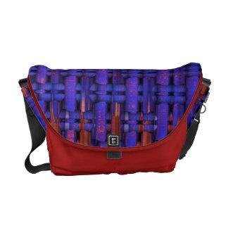 Purple columns messenger bag