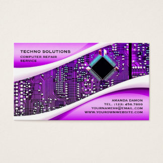 Purple Computer Repair Business Card