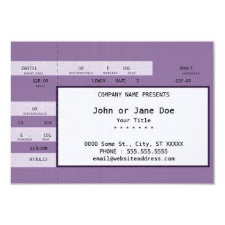 purple concert ticket 3.5x5 paper invitation card