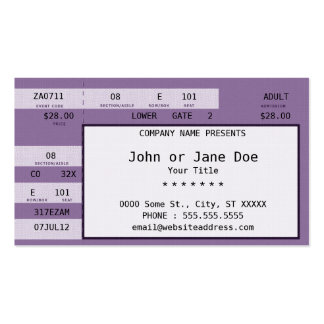 purple concert ticket business card templates