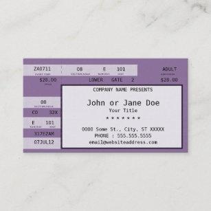Ticket business cards zazzle purple concert ticket colourmoves