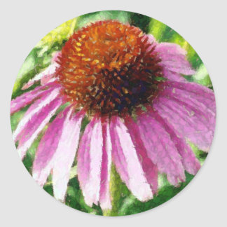 purple coneflower artwork classic round sticker
