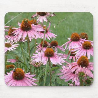 Purple Coneflower Garden with Yellow Bees Mouse Pad
