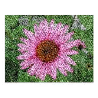 Purple coneflower mosaic postcard