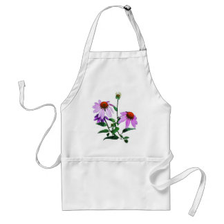 Purple Coneflower On White Adult Apron