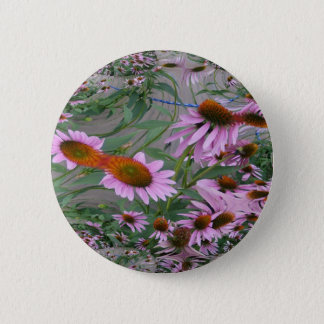Purple Coneflowers Fractal Dance Pinback Button