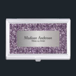 """Purple Confetti Glitter Print   DIY Name Case For Business Cards<br><div class=""""desc"""">Professional &amp; Elegant Business Card Holders in a beautiful purple confetti glitter print and silver label. 100% Customizable. Ready to Fill in the box(es) or Click on the CUSTOMIZE IT button to change, move, delete or add any of the text or graphics. Made with high resolution vector and/or digital graphics...</div>"""