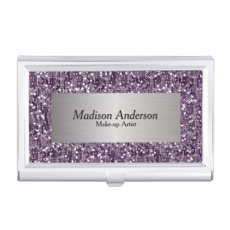 Purple Confetti Glitter Print | DIY Name Case For Business Cards