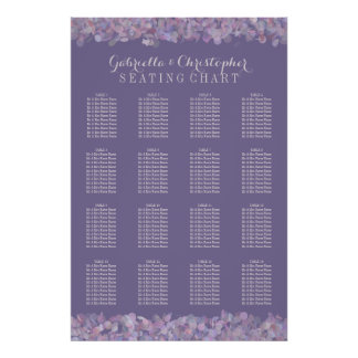 Purple Confetti   Wedding Seating Chart 16 Table