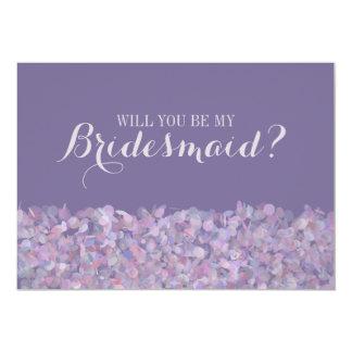Purple Confetti Will You Be My Bridesmaid 5x7 Paper Invitation Card