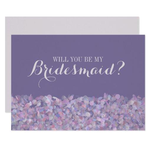 Purple Confetti Will You Be My Bridesmaid Card