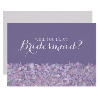 Purple Confetti Will You Be My Bridesmaid Invitation
