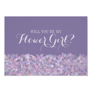 Purple Confetti Will You Be My Flower Girl Invitation