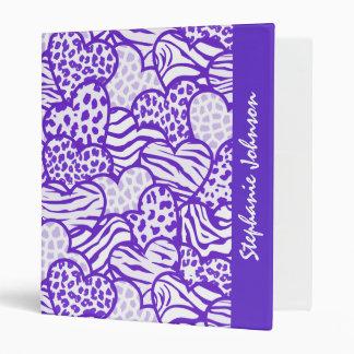 Purple contour girly animal print hearts 3 ring binder