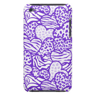 Purple contour girly animal print hearts iPod touch cases