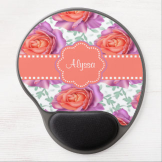 Purple Coral Roses Personalized Gel Mouse Pad