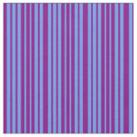 [ Thumbnail: Purple & Cornflower Blue Lined/Striped Pattern Fabric ]