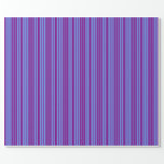 [ Thumbnail: Purple & Cornflower Blue Lined/Striped Pattern Wrapping Paper ]