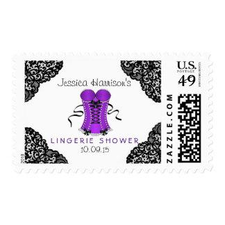 Purple Corset & Black Lace Lingerie Shower Postage