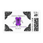 Purple Corset & Black Lace Lingerie Shower Stamp