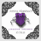 Purple Corset & Black Lace Lingerie Shower Sticker