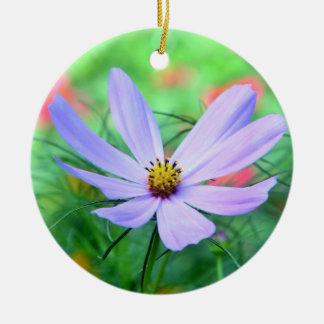 Purple cosmea flower ceramic ornament