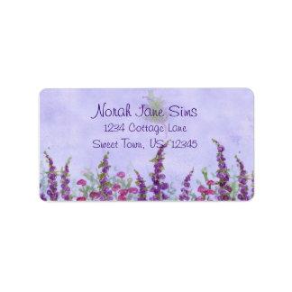 Purple Cottage Garden Watercolor Flowers Label