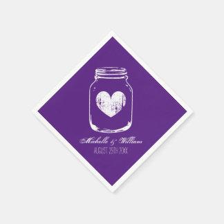 Purple country chic mason jar wedding napkins
