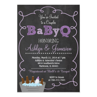 Purple Couples BabyQ BBQ Baby Shower Invitation