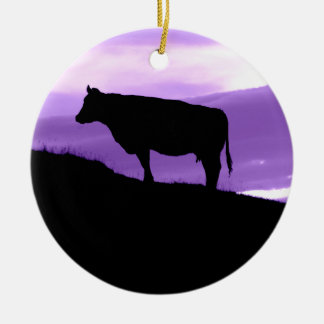 Purple Cow Ceramic Ornament