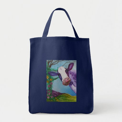 Purple Cow Grocery Tote Bag