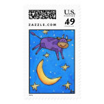 Purple Cow Jumped Over the Moon - postage stamp
