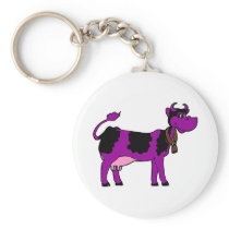 Purple Cow Keychain