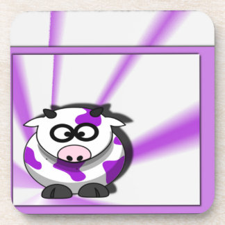 Purple Cow on Funky Purple Background Drink Coaster
