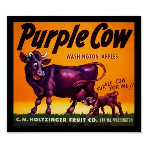 Purple Cow Produce Crate Label - Poster