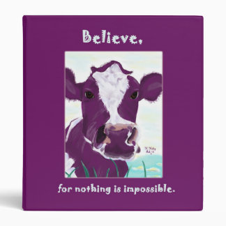 Purple Cow Quite Possibly Contemplating Flight bin 3 Ring Binder