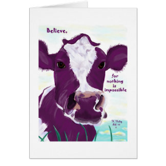 Purple Cow Quite Possibly Contemplating Flight Card
