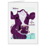 Purple Cow Quite Possibly Contemplating Flight Greeting Card